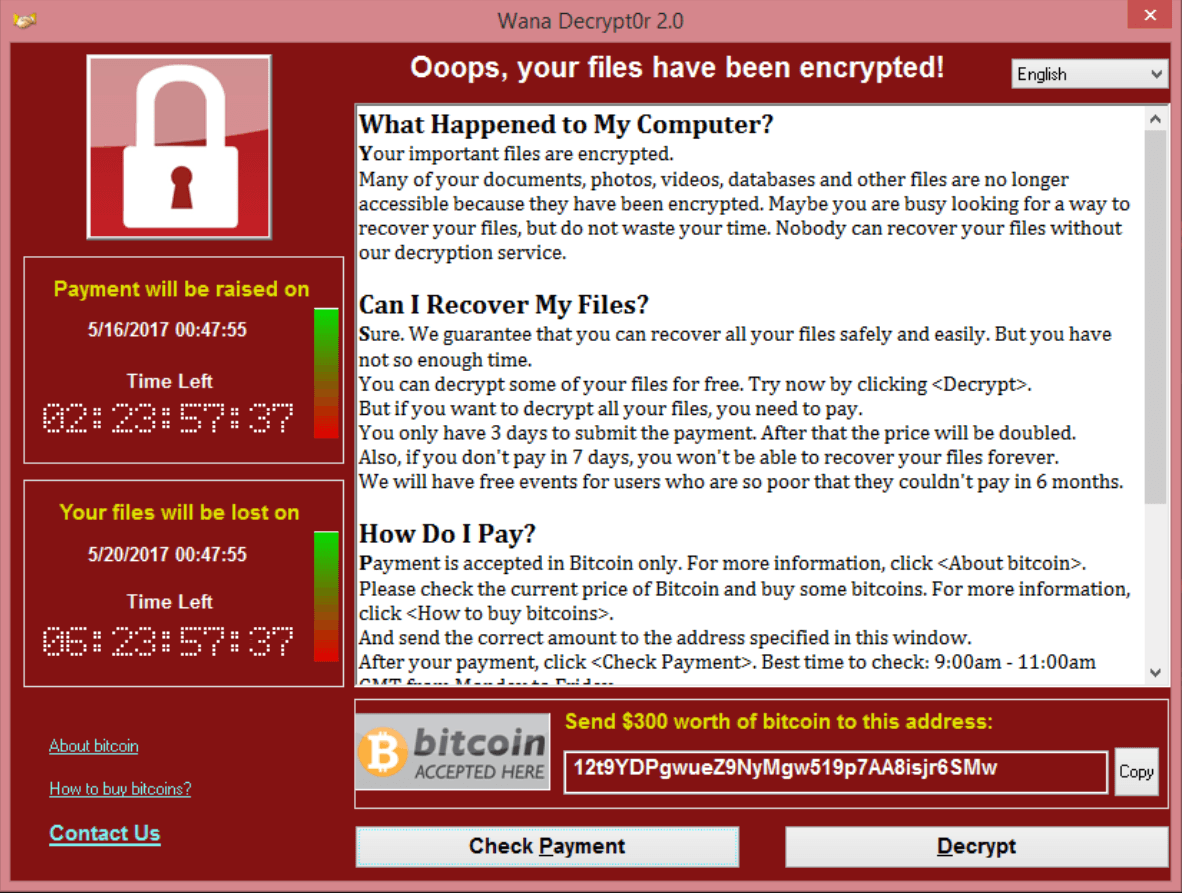 Wanna cry ransomware screen