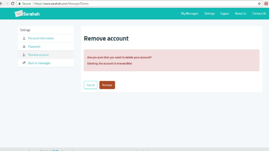 remove sarahah account