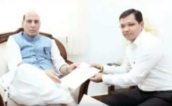 Anubhav Mittal With Rajnath Singh